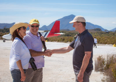 Guests-are-greeted-by-Tasmanian-Boat-Charters-staff-when-they-land-at-Melaleuca
