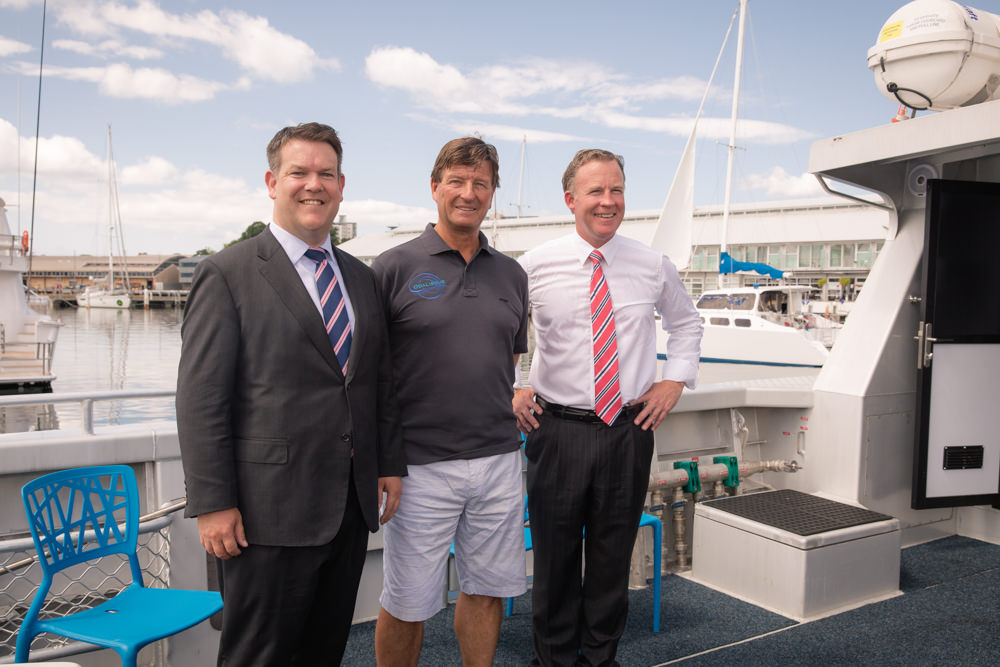 Hon. Matthew Groom MP, Pieter van der Woude and the Premier Hon. Will Hodgman MP