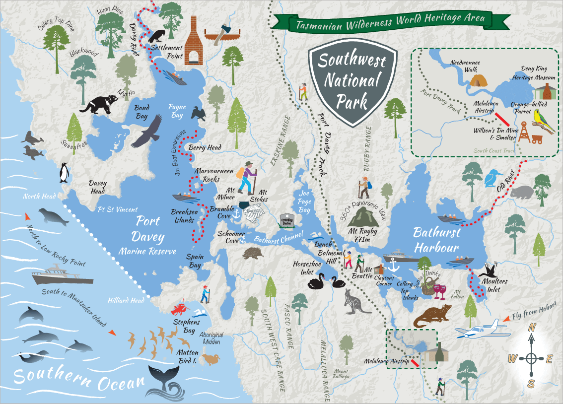 Port Davey Adventure Map